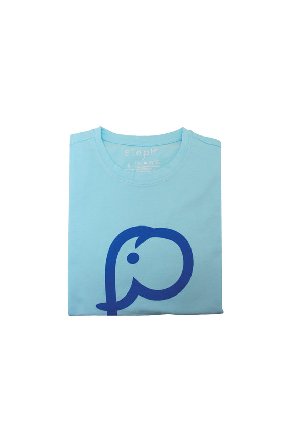 ELEPH T-SHIRT LOGO : Light Blue/Blue