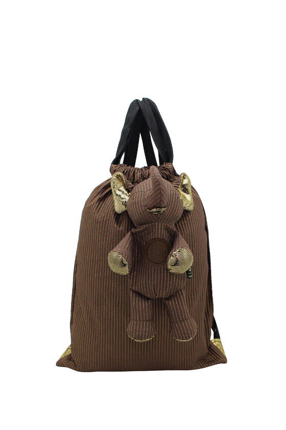 ELEPH FOLDABLE PLEAT LUREX - BACKPACK : Choc/ Gold