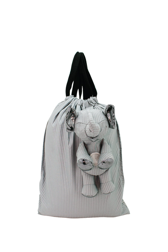 ELEPH FOLDABLE PLEAT LUREX - BACKPACK : Grey/ Silver