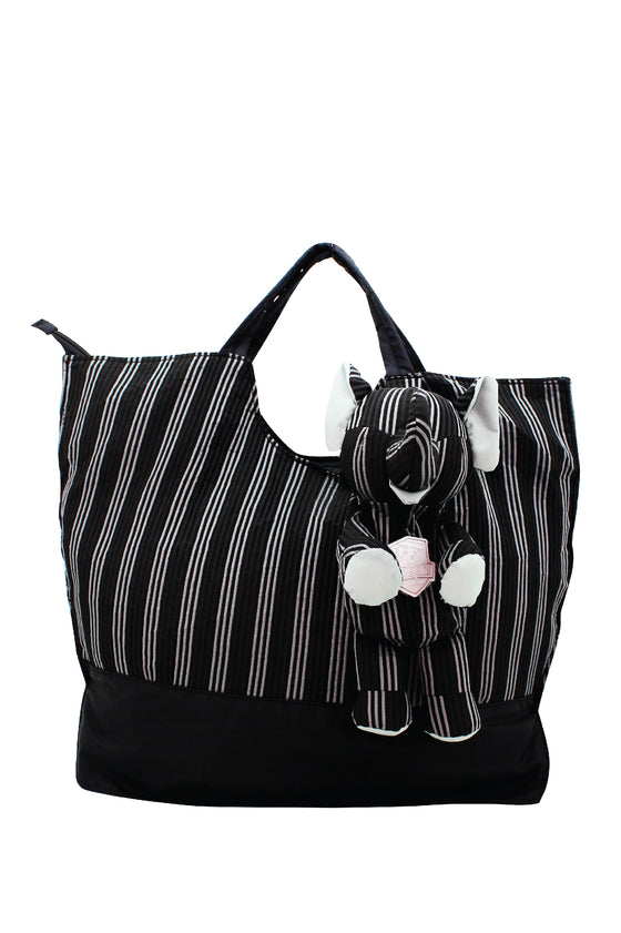 ELEPH FOLDABLE PLEAT 3 STRIPE - TOTE  :  Black / Grey