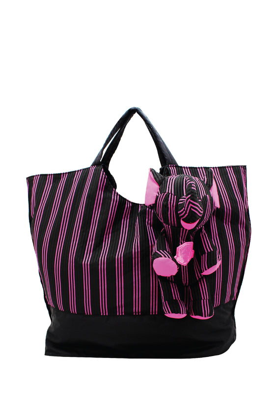 ELEPH FOLDABLE PLEAT 3 STRIPE - TOTE  :  Black / Pink