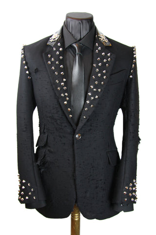 Distressed Studded Lapel Jacket