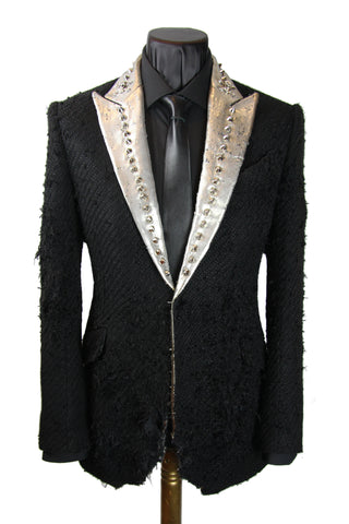 Distressed Silver Lapel Jacket
