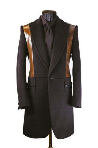 Tan Leather Panelled Frock Coat