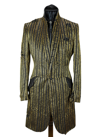 Distressed Gold Striped Frock Coat