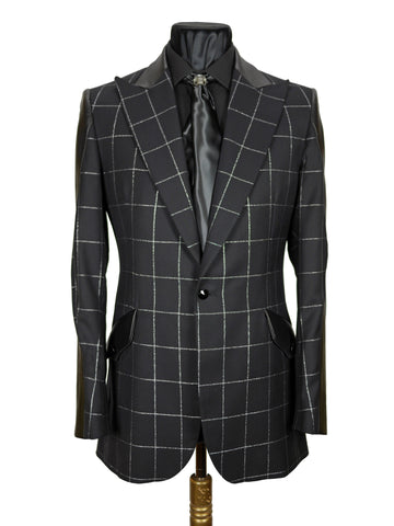Silver Check Panelled Jacket