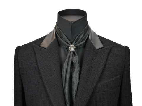 Black Fine Paisley Cravat Ring and Scarf Set