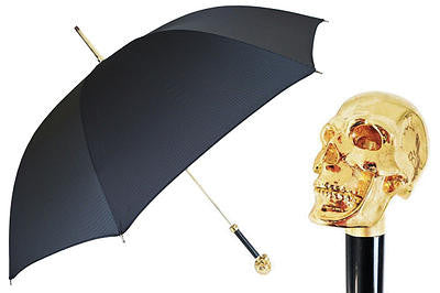 Gentlemans Gold Skull Handled Black Umbrella