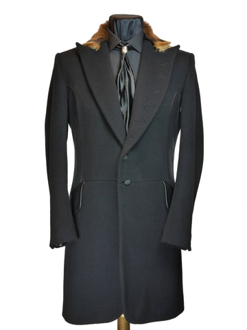 Black Lamé Panelled Frock Coat