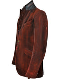 Red Coated Distressed Velvet Jacket