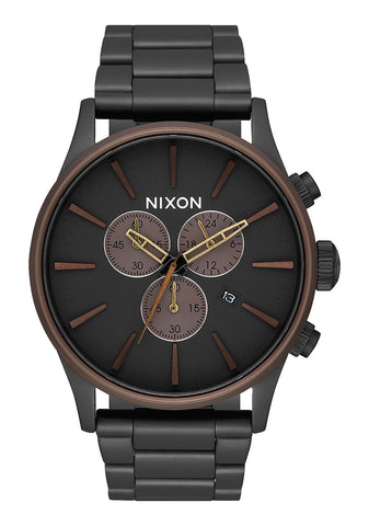 Nixon SENTRY CHRONO All Black / Brown / Brass