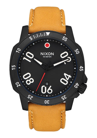 Nixon RANGER LEATHER All Black / Goldenrod