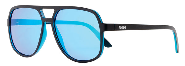 SIN The Boss Matte Raven Black w/ Blue Flash Polarised