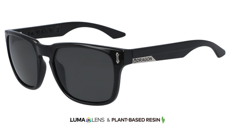 Dragon Monarch XL Jet Black w/ Smoke Polarised LumaLens