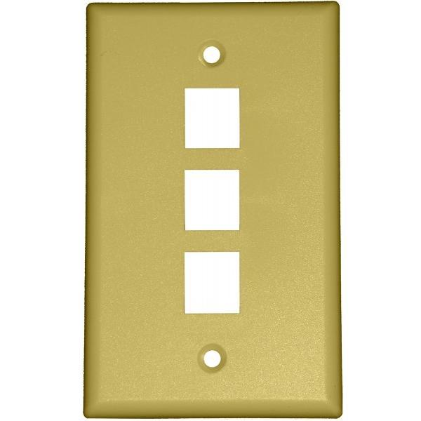 Ivory Wall Face Plate - 3 port, WPP-3-IV-UL