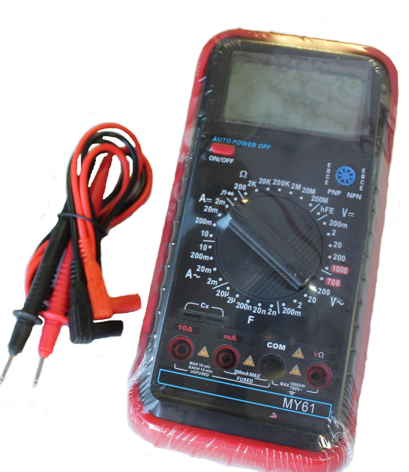 Versitile Digital Multimeter with AC/DC, Res, Cap, Transistor and Diode Testing