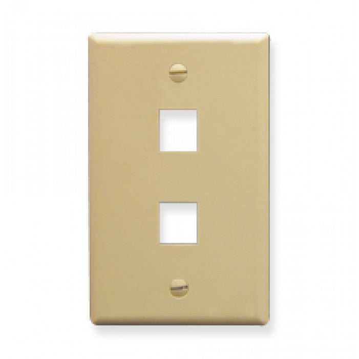Ivory Wall Face Plate - 2 port, WPP-2-IV-UL