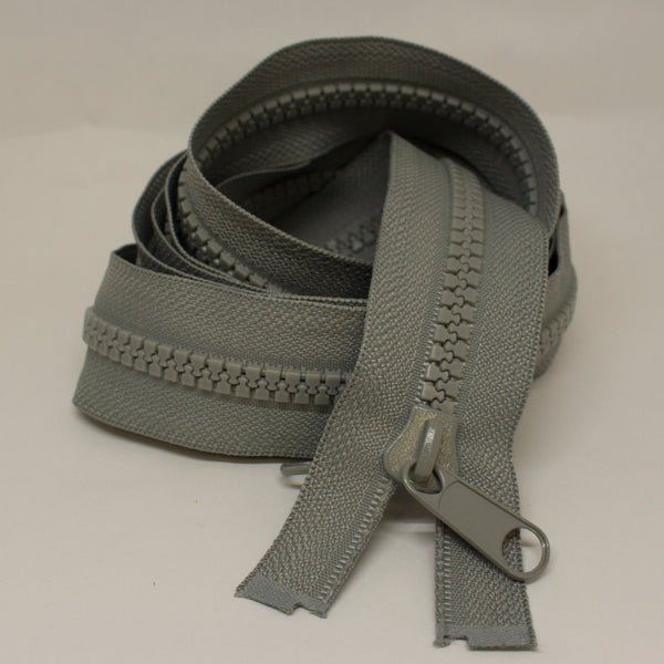 OPEN END CHAIN ZIP, 7MM, DOUBLE SIDED SLIDER - SILVER GREY