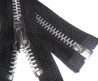 OPEN END ZIP - BLACK WITH SILVER TEETH