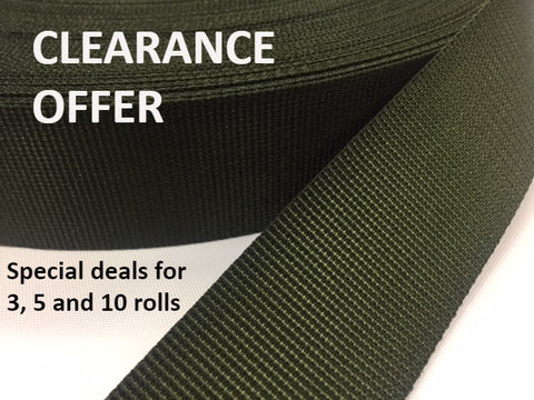 SPECIAL OFFER: TRADITIONAL WEAVE OLIVE NYLON 40MM WEBBING - 50 METRE ROLL