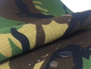 RIPSTOP POLYCOTTON WOODLAND CAMOUFLAGE - WATER REPELLANT