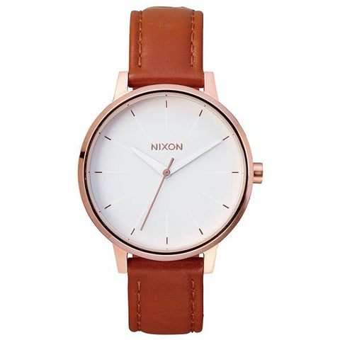 Nixon Kensington Leather - Rose Gold / White