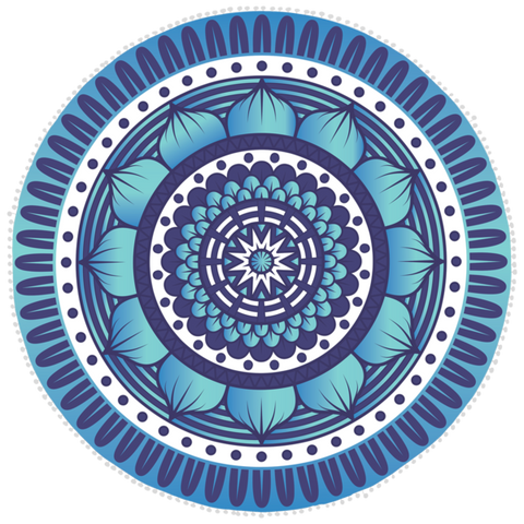 Bobums Microfibre Round Printed Towel - Blue Pattern