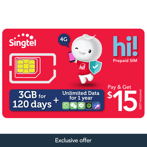 $15 hi! SIM Card with FREE 3GB, $15 value & more