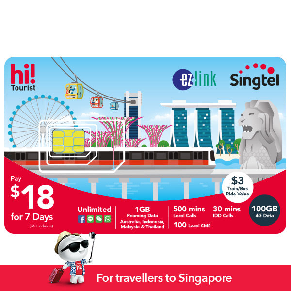 $18 hi!Tourist EZ-Link SIM Card with 100GB & Transport