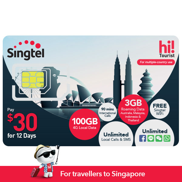 $30 hi!Tourist SIM Card (12 days), 100GB, 3GB DataRoam
