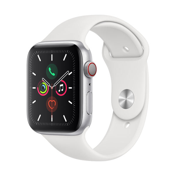 Apple Watch Series 5 Silver Aluminium Case with White Sport Band (GPS + Cellular)