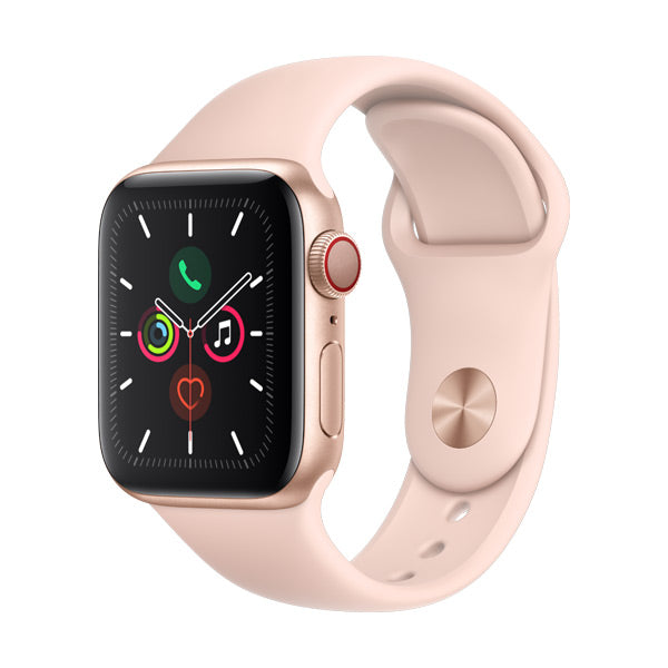 Apple Watch Series 5 Gold Aluminium Case with Pink Sand Sport Band (GPS + Cellular)