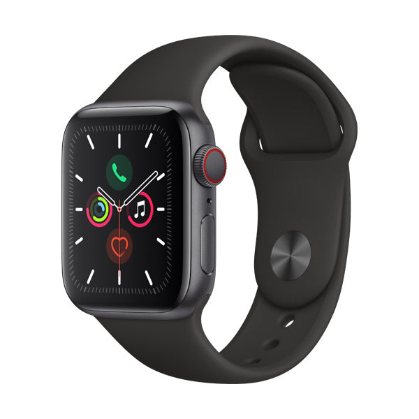 Apple Watch Series 5 Space Grey Aluminium Case with Black Sport Band (GPS + Cellular)