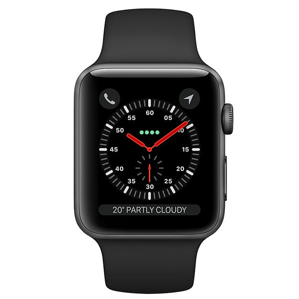 Apple Watch Series 3 Aluminium Case With Black Sport Band (GPS + Cellular)