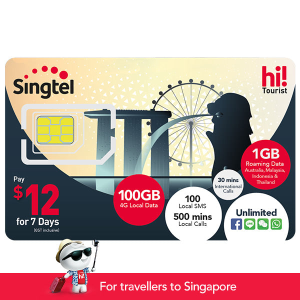 $12 hi! Tourist SIM Card (7 days), 100GB, 1GB DataRoam