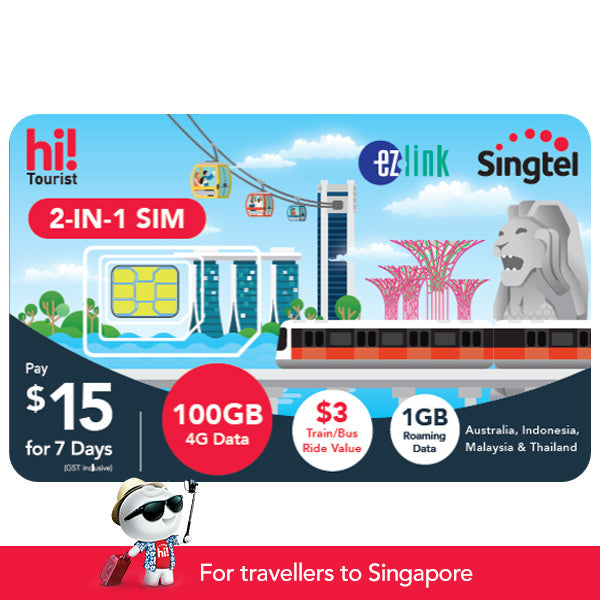 $15 hi! Tourist 2-in-1 SIM Card with 100GB & Transport