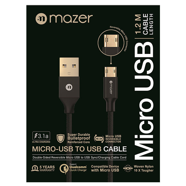 Mazer Nylon Micro-Reversible USB 1.2m-3.1A Black
