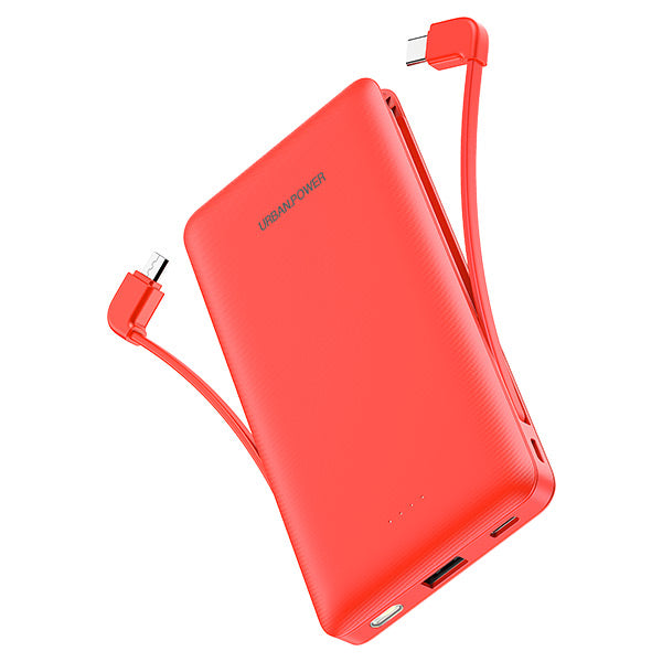 N Brandz 10000mAh Power Bank with LED Torch and Built-In Micro USB/USB-C Cable