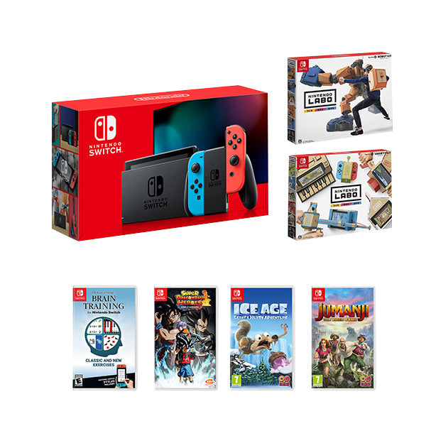 Nintendo Switch Gen 2 Neon Console System Family Bundle