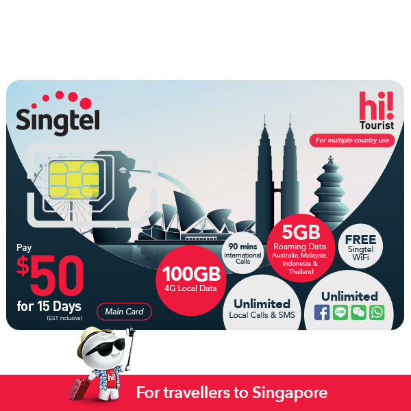 $50 hi!Tourist SIM Card (15 days), 100GB, 5GB DataRoam