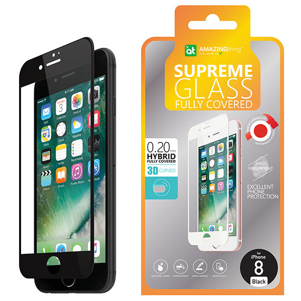 AMAZINGthing iPhone 8 Plus 0.2MM 3D Hybrid Tempered Glass Black