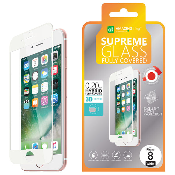 AMAZINGthing iPhone 8 0.2Mm 3D Hybrid Tempered Glass Black