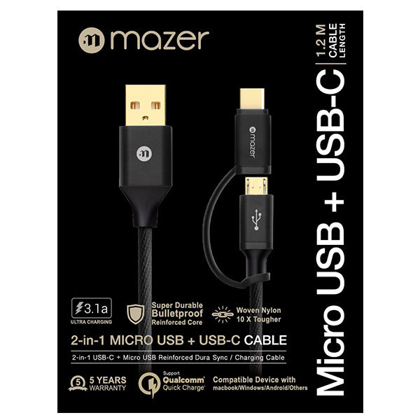 Mazer Nylon 2in1 Micro USB + USB-C Cable 1.2M 3.1A