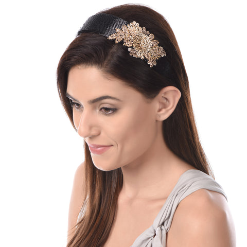 Mason Black Embroidered Hairband - Ruche & Hues  - 5