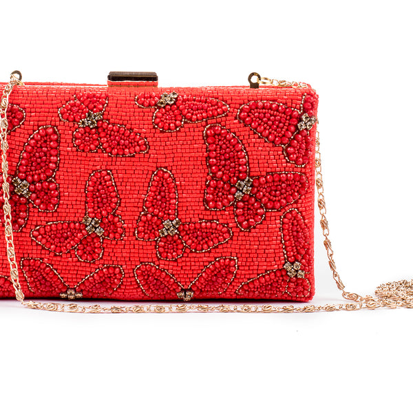 Aliferous Crystal Embellished Clutch (RED)