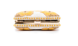 Mesmeric floral Embellished clutch (YELLOW/GOLD)