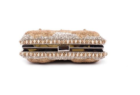 Mesmeric floral Embellished clutch (SILVER/GOLD)