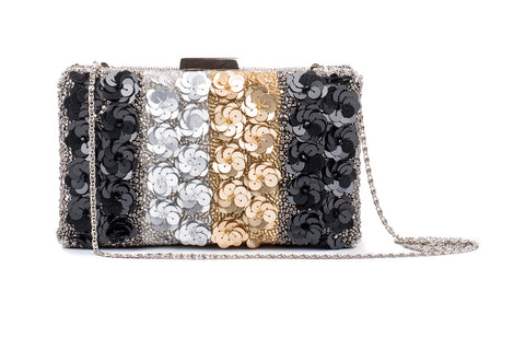 Quixotic floral Embellished Clutch (BLACK/GOLD/SILVER)
