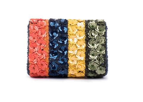 Quixotic floral Embellished Baguette Bag (MULTI)