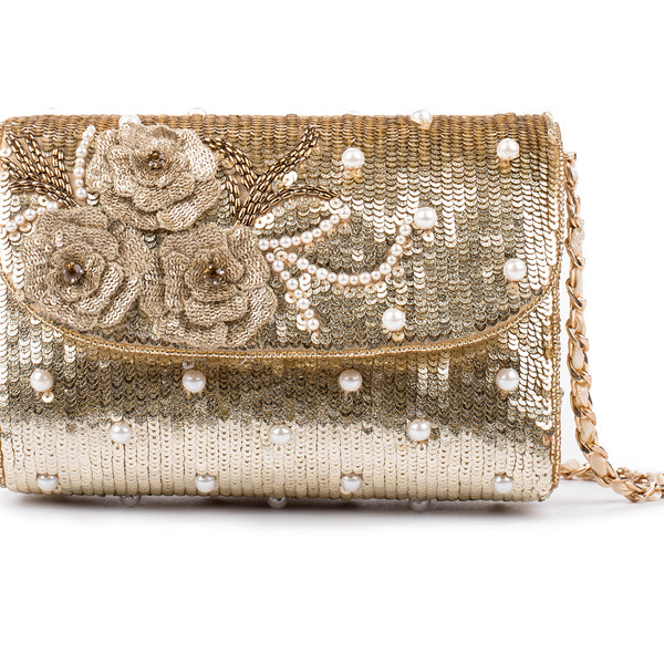 Cockaigne Pearl Embellished Baguette Bag (GOLD)